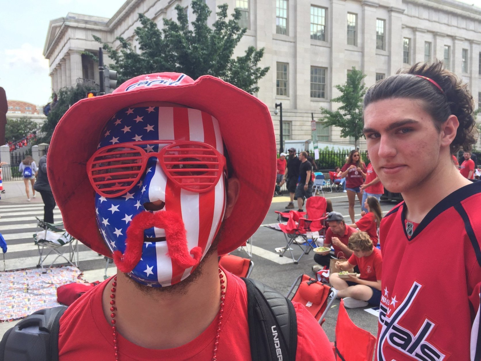 With Game 5 hours away, Caps fans had their game faces on outside Capital One Arena. (WTOP/Kristi King)