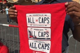 """This rally towel available outside Capital One Arena observes all corners of """"the DMV."""" (WTOP/Kristi King)"""