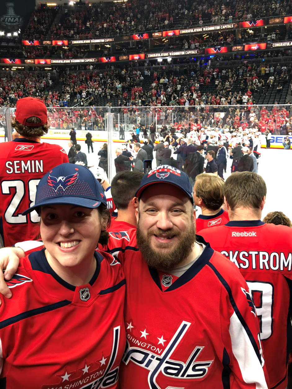 Tiffany Diehl and Jason Crown watched the Caps win the Stanley Cup from Las Vegas. (Courtesy Tiffany Diehl)
