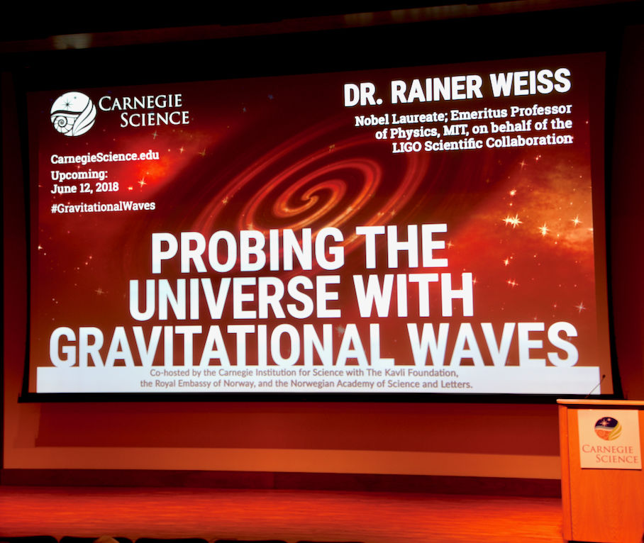 The stage is set for Dr. Weiss's lecture. (Courtesy Greg Redfern)