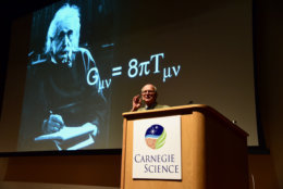 Dr. Rainer Weiss, MIT explains Albert Einstein's theory of relativity in Washington, D.C. (Courtesy Greg Redfern)