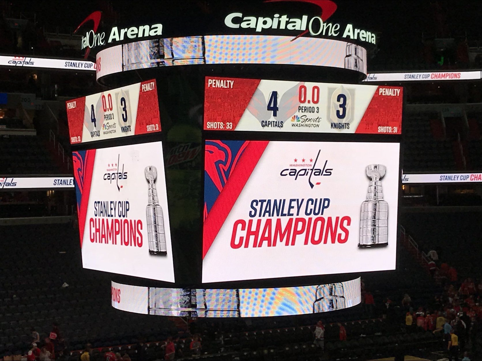 The screens at Capital One Arena in Washington, D.C. announced the win. (WTOP/Michelle Basch)