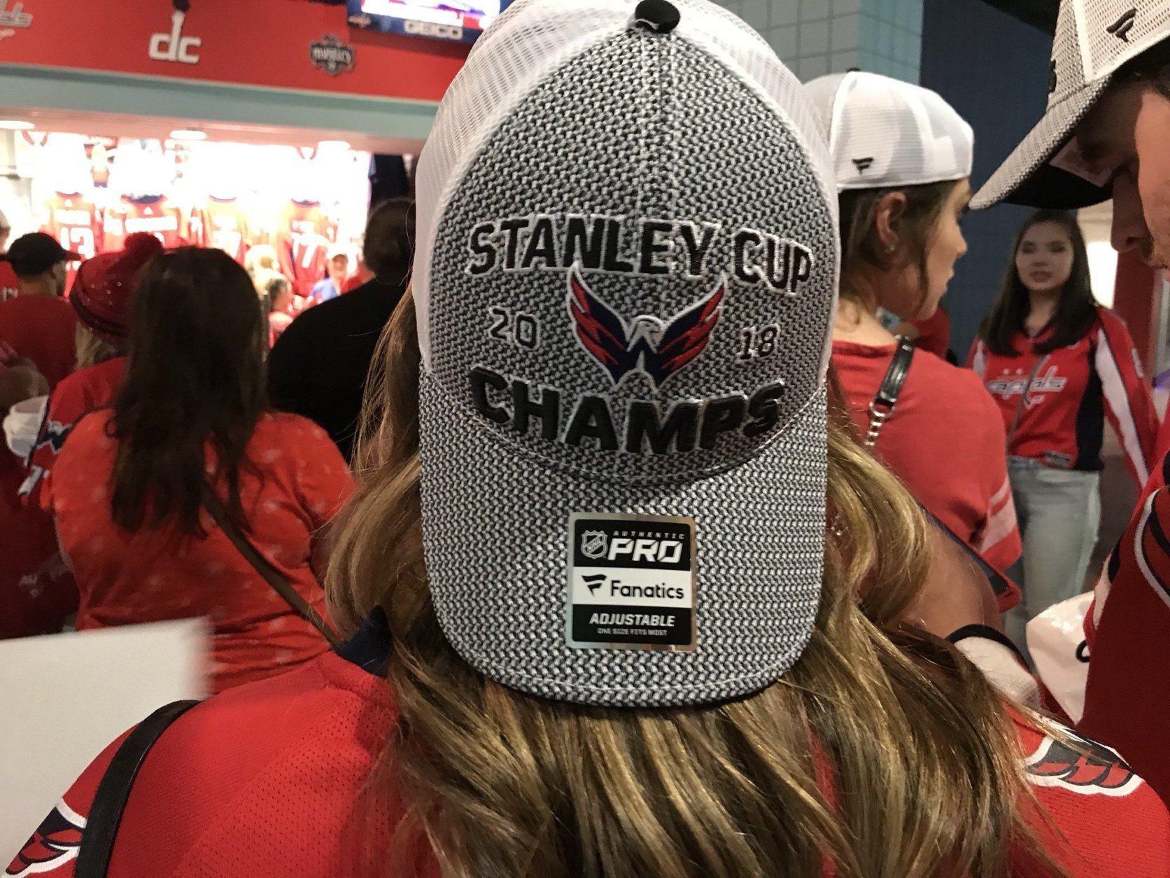 Stanley Cup champs gear already spotted on a Caps fan on Thursday, June 7, 2018. (WTOP/Michelle Basch)