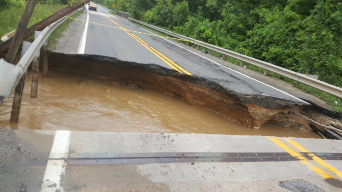 The portion of Md. 198 that washed away in the flooding on June 4, before the repair. (Courtesy Maryland Highway Administration via Twitter)