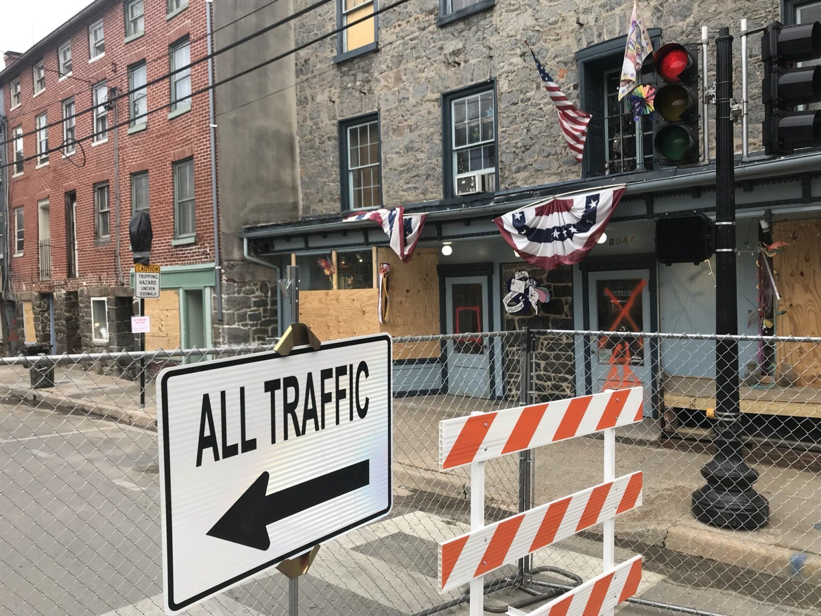 Main Street in Ellicott City has reopened west of Old Columbia Pike and east of Maryland Avenue. (WTOP/Neal Augenstein)