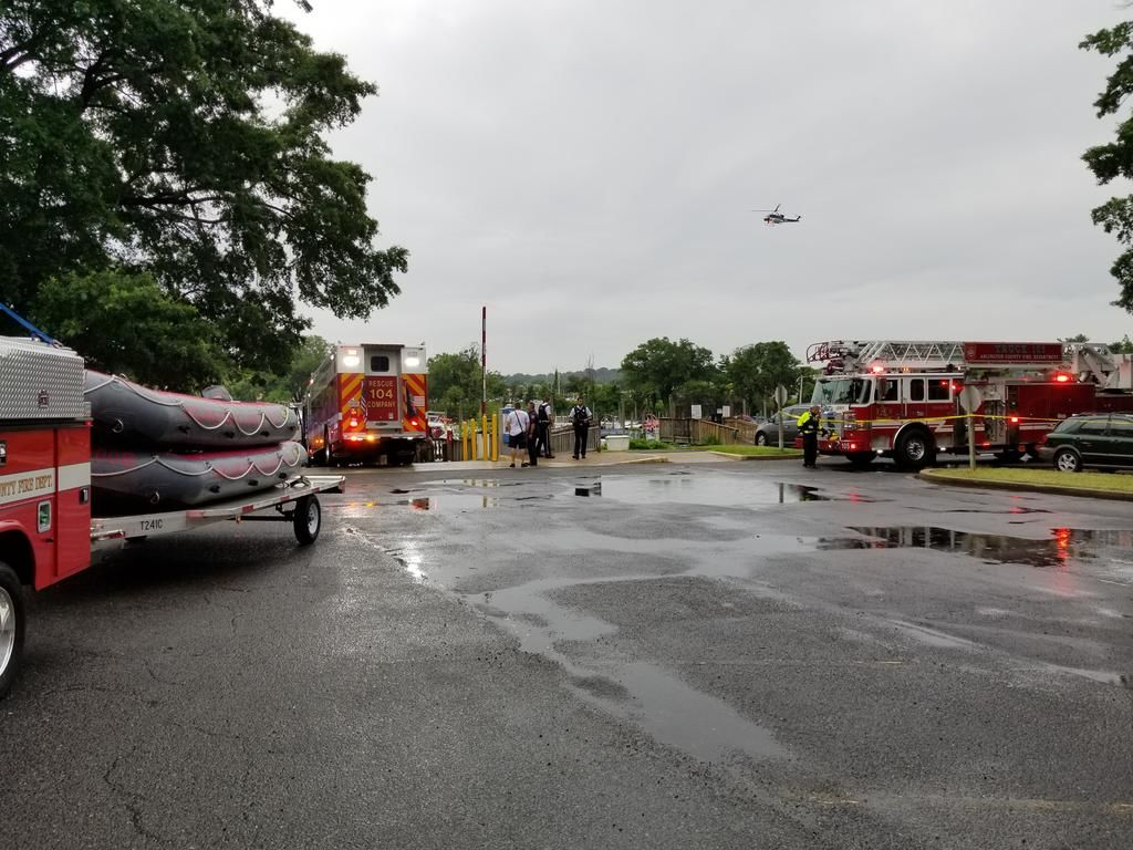 At around 9:45 a.m., crews were getting ready to remove the vehicle from the water. (Courtesy Arlington Fire)