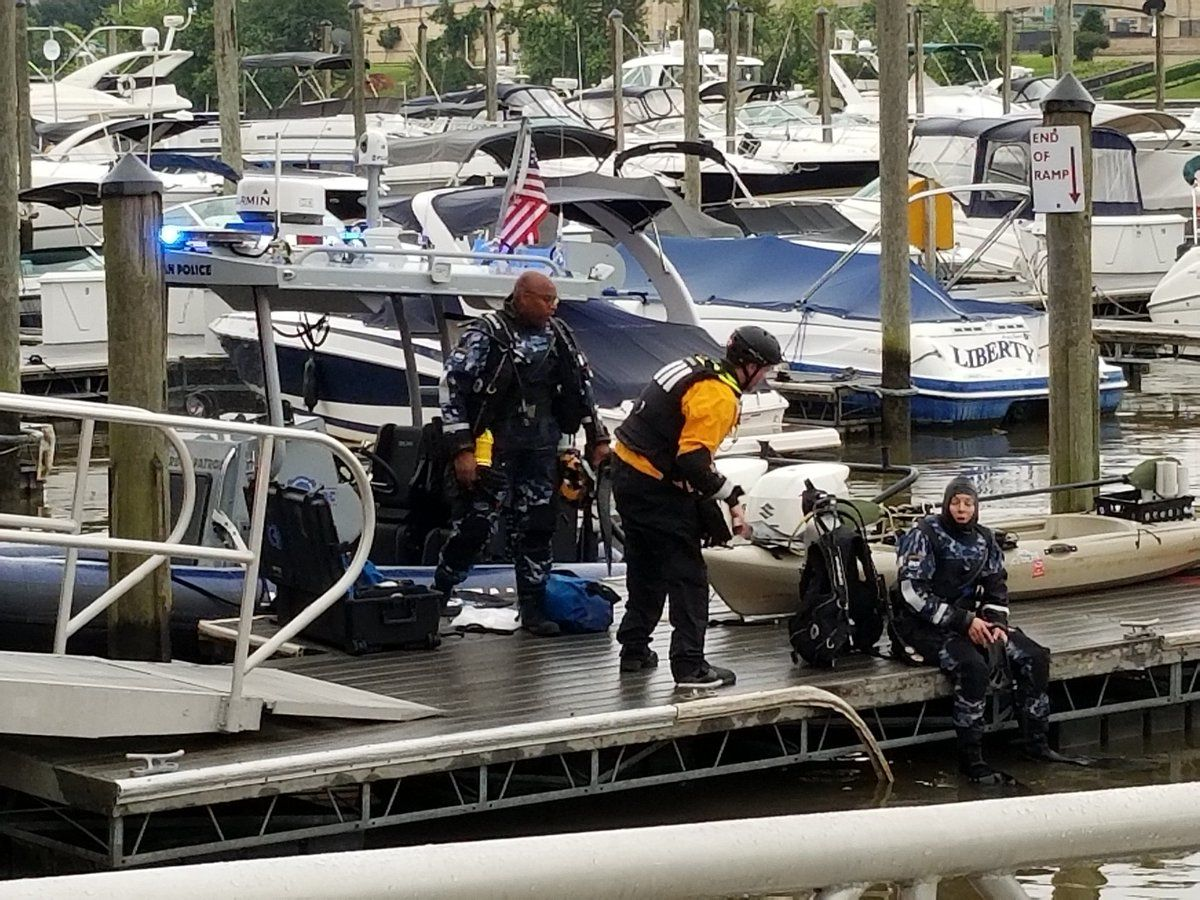 A man was rescued from the water at Columbia Island Marina. (Courtesy Arlington Fire)
