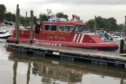 D.C. Fire and EMS fireboats responded to the scene of the water rescue in the Columbia Island Marina. (Courtesy D.C. Fire and EMS)