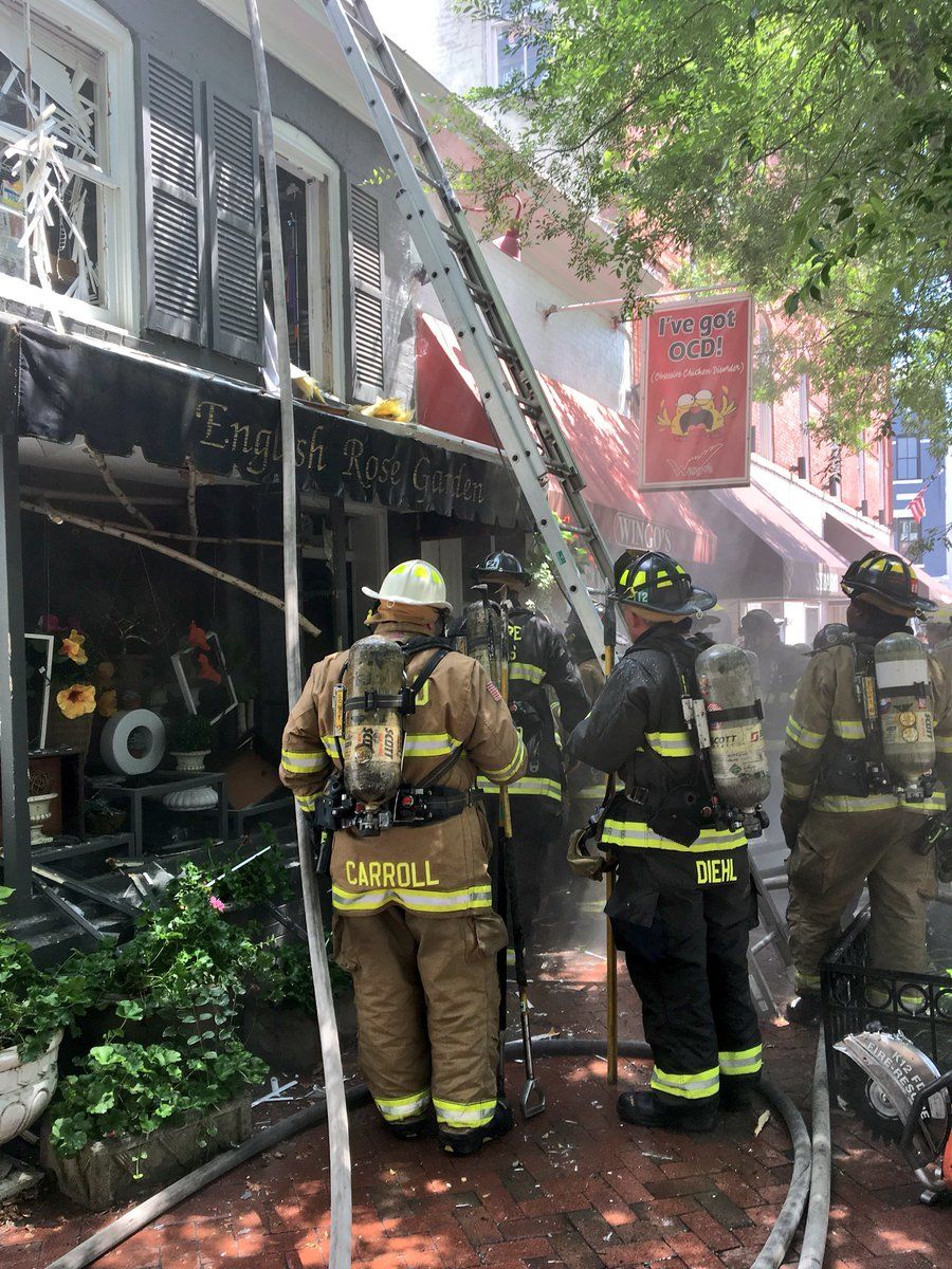 The 3200 block of O Street Northwest - Wingo's and the English Rose Garden - had fire in the walls and ceiling of the building, DC Fire and EMS tweeted. (Courtesy DC Fire and EMS)