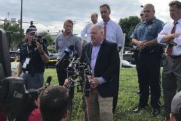 Gov. Larry Hogan speaks at a news conference following an active shooting situation in Annapolis, Maryland, Thursday afternoon. (WTOP/Michelle Basch)
