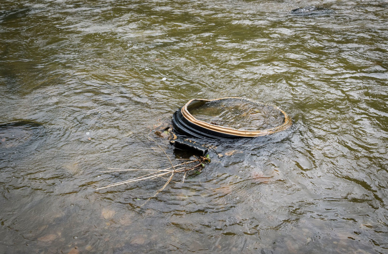 The frame of the Ellicott City clock floats in the Patapsco River on Saturday June 2, 2018. (Courtesy Howard County Government)