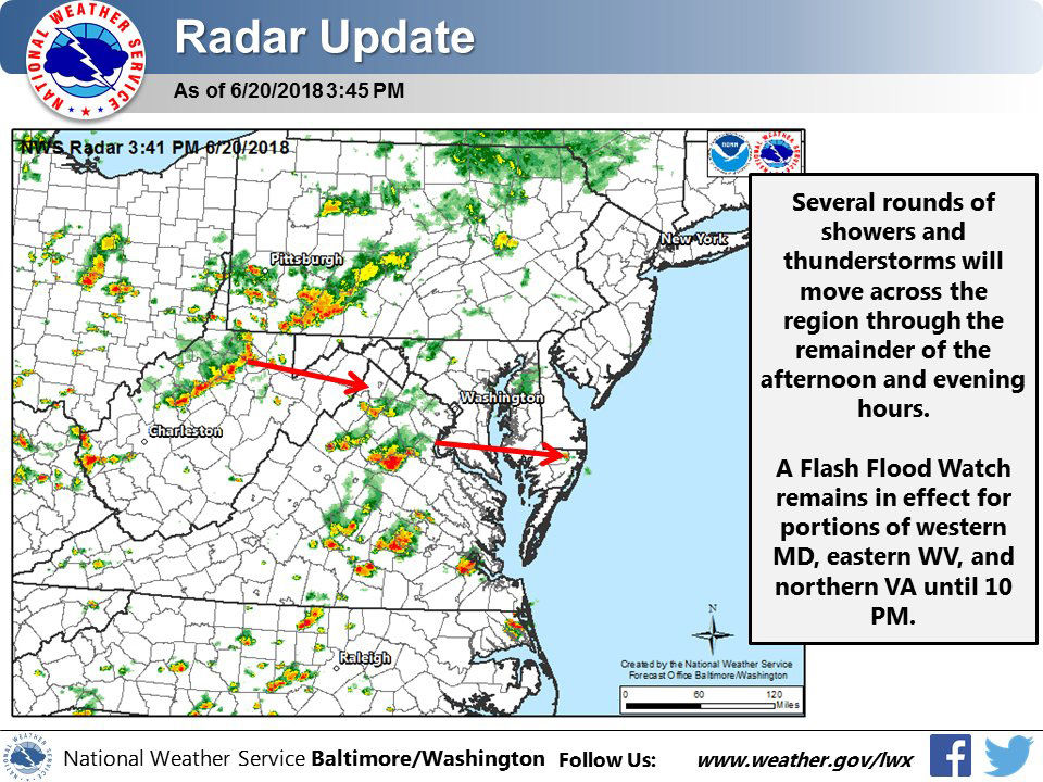 The National Weather Service said several rounds of showers and thunderstorms will move across much of the D.C. area throughout Wednesday afternoon and evening. Some of the storms could wind up being severe. (Courtesy National Weather Service)