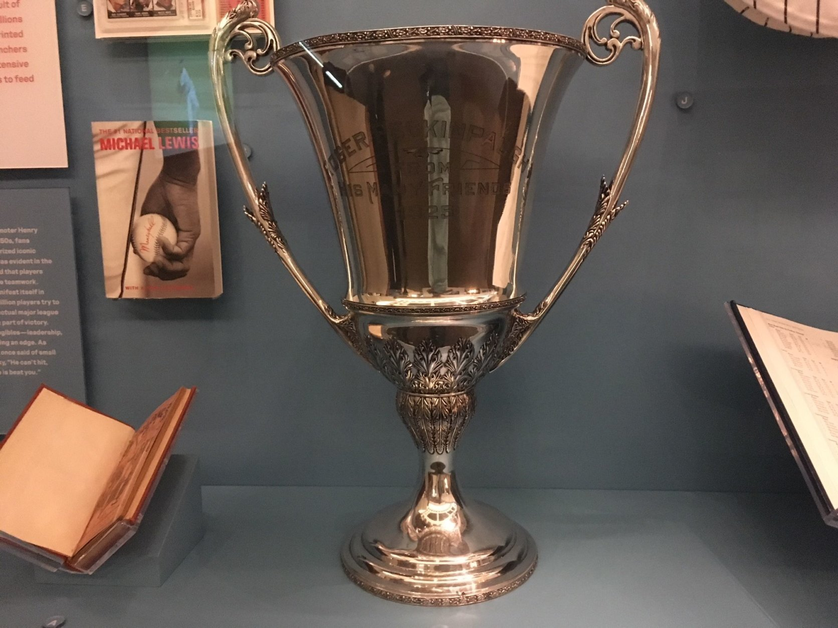 There are some unique items on display, including this trophy paid for by Senators fans and given to Roger Peckinpaugh after he won the American League MVP in 1925, back before the league awarded any physical totem. (WTOP/Noah Frank)
