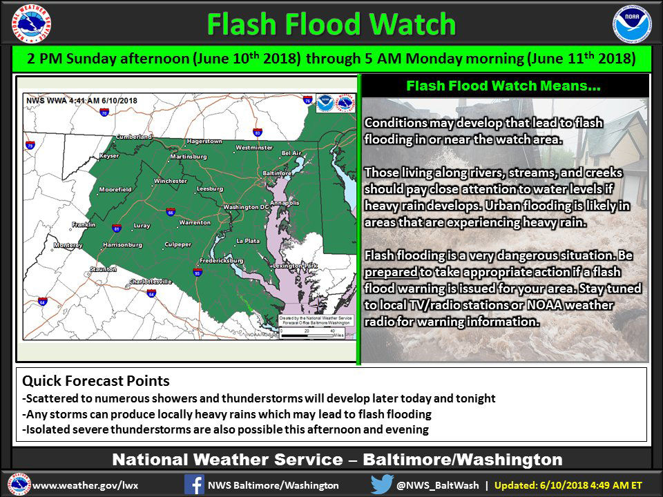 Starting at 2 p.m., a flash flood watch will be in effect for most of the D.C. area. (Courtesy National Weather Service)
