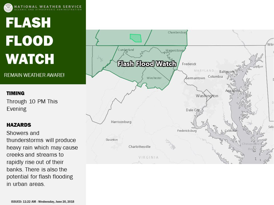 Just outside of the D.C. area, a flash flood watch is in effect through 10 p.m. for portions of eastern West Virginia, Western Maryland and Northern Virginia. (Courtesy National Weather Service)