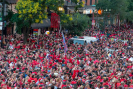 WASHINGTON, DC - JUNE 07: Washington Capitals pack 7th street outside the Capitol One Area on June 7, 2018 in Washington, DC. The Washington Capitals head into Game 5 tonight against the Las Vegas Golden Knights with a  3-1 series lead. (Photo by Alex Edelman/Getty Images)