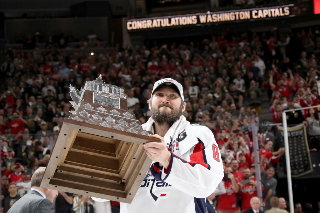 LAS VEGAS, NV - JUNE 07:  Alex Ovechkin #8 of the Washington Capitals skates with the Conn Smythe Trophy after his team defeats the Vegas Golden Knights 4-3 in Game Five of the 2018 NHL Stanley Cup Final at T-Mobile Arena on June 7, 2018 in Las Vegas, Nevada.  (Photo by Bruce Bennett/Getty Images) *** Local Caption *** Alex Ovechkin
