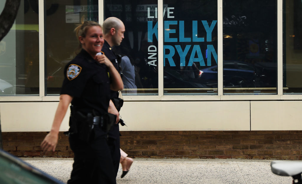 NEW YORK, NY - JUNE 28: Members of the NYPD stand guard in front of ABC headquarters  as they increase security in Manhattan at major media companies following a shooting today at the Capital Gazette newspaper in Maryland on June 28, 2018 in New York City. One suspect is in custody after up to five people were reported killed in the shooting at the local newspaper. (Photo by Spencer Platt/Getty Images)