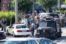 ANNAPOLIS, MARYLAND - JUNE 28, 2018: Police respond to a shooting on June 28, 2018 in Annapolis, Maryland. - At least five people were killed Thursday when a gunman opened fire inside the offices of the Capital Gazette, a newspaper published in Annapolis, a historic city an hour east of Washington. A reporter for the daily, Phil Davis, tweeted that a 'gunman shot through the glass door to the office and opened fire on multiple employees.''There is nothing more terrifying than hearing multiple people get shot while you're under your desk and then hear the gunman reload,' Davis said. (Photo by Alex Wroblewski/Getty Images)