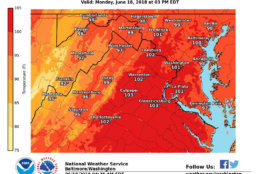 Most of the D.C. area will be dealing with heat index values reaching the upper 90s to low 100s on Monday, June 18. Temperatures this high can lead to dangerous health problems. (Courtesy National Weather Service)