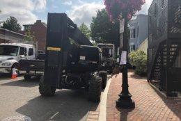 Road closures are underway in D.C.'s Georgetown neighborhood, where a movie is being filmed. (WTOP/Melissa Howell)