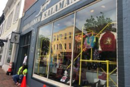 Commander Salamander storefront spotted in Georgetown for the set of Wonder Woman 2. (WTOP/Melissa Howell)