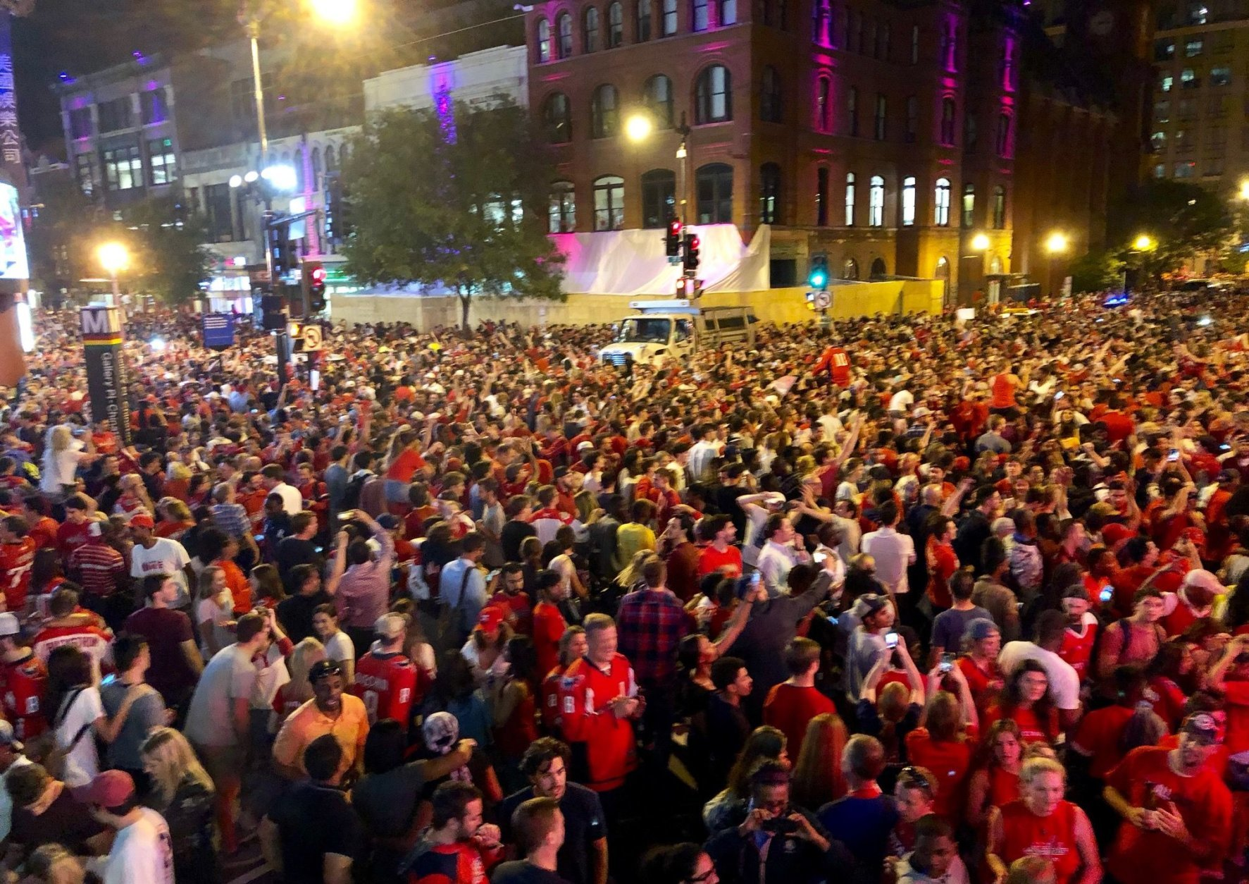 Crowds went wild in celebration after Thursday's game. (WTOP/Dave Dildine)