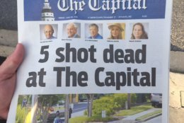 The front page of the Capital Gazette the morning after the shooting at the newsroom. (WTOP/John Domen)