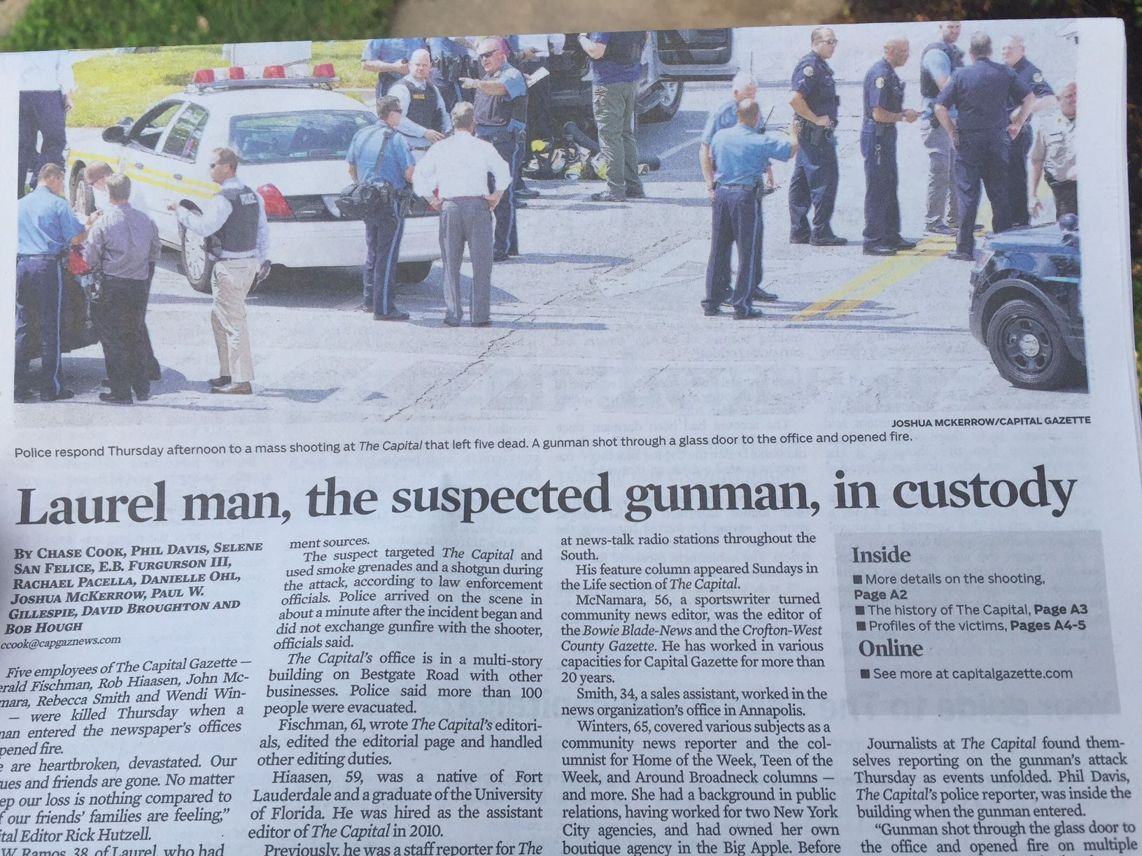 The front page of the Capital Gazette the morning after the shooting. (WTOP/John Domen)