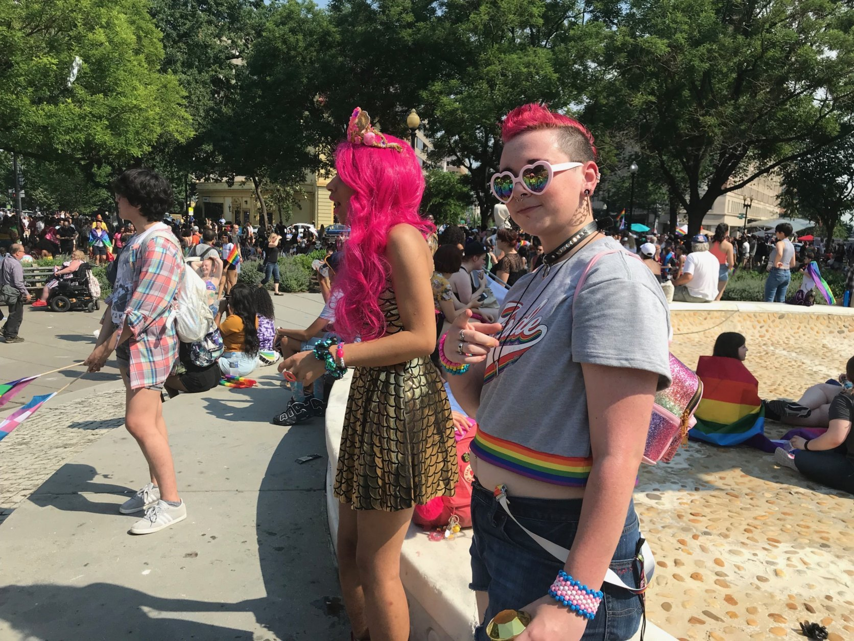 Parade-attendees march on and celebrate Pride Month at D.C.'s Pride Parade. (WTOP/Dick Uliano)