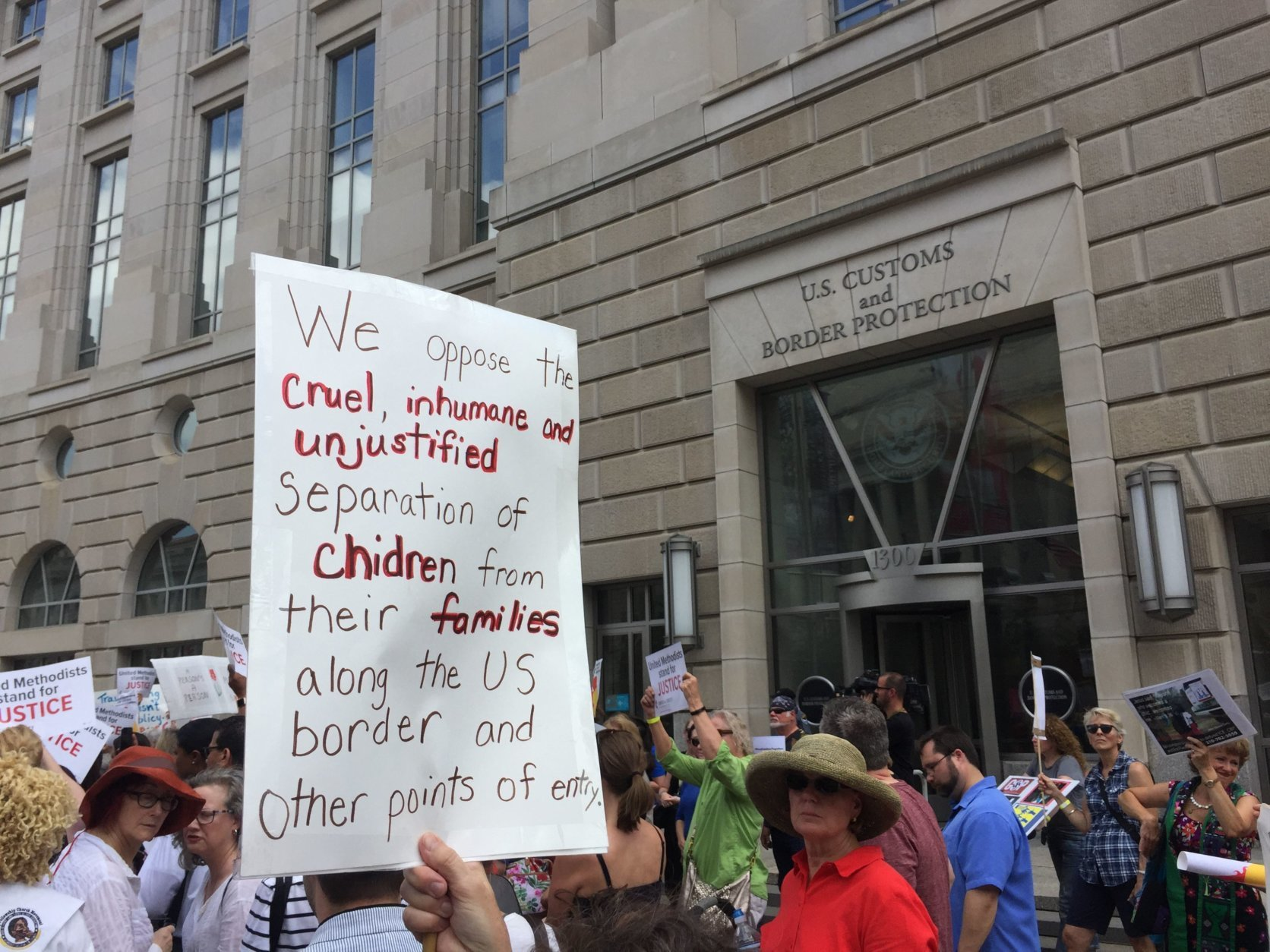 A group of women clergy members  gathered in D.C. to protest the separation of parents and children at the U.S border. (Photo by Don Squires)