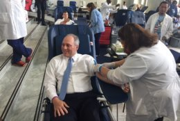 Steve Scalise giving blood at the annual Congressional Blood Drive. (WTOP/John Domen)