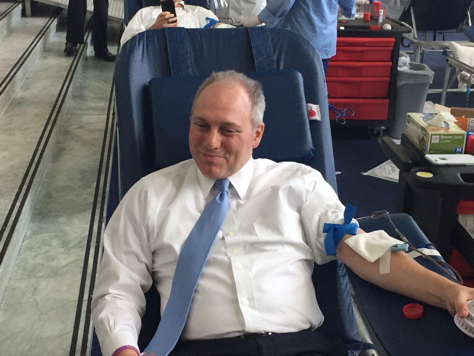 Steve Scalise donating blood