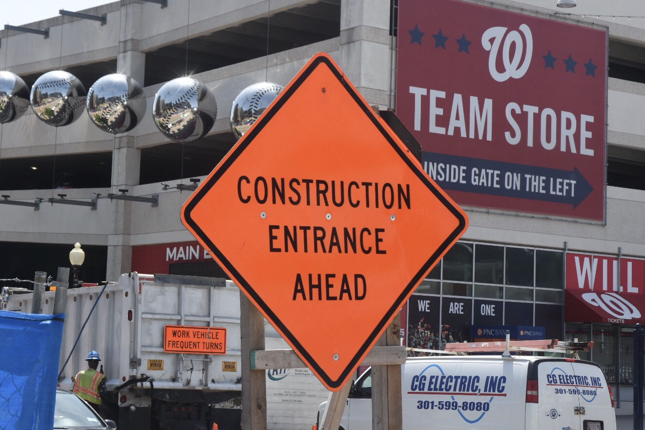 There are over a dozen construction projects within just a few blocks of Nationals Park. With less than a month before the All-Star Game, city officials plan to release details on their preparations for the event this coming Thursday. (WTOP/Dave Dildine)