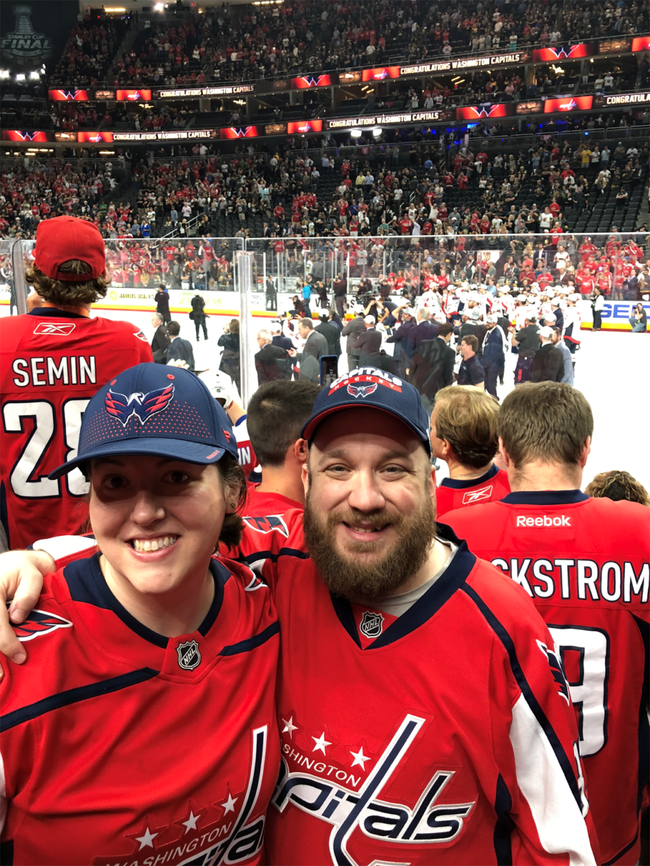 Caps fans Tiffany Diehl and Jason Crown are in Las Vegas, reveling at the scene of the victory. (Courtesy Tiffany Diehl)