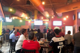 Fans attend a watch party at Leonardtown Cigars in Leonardtown, Maryland. (Courtesy Jacki Wobser)