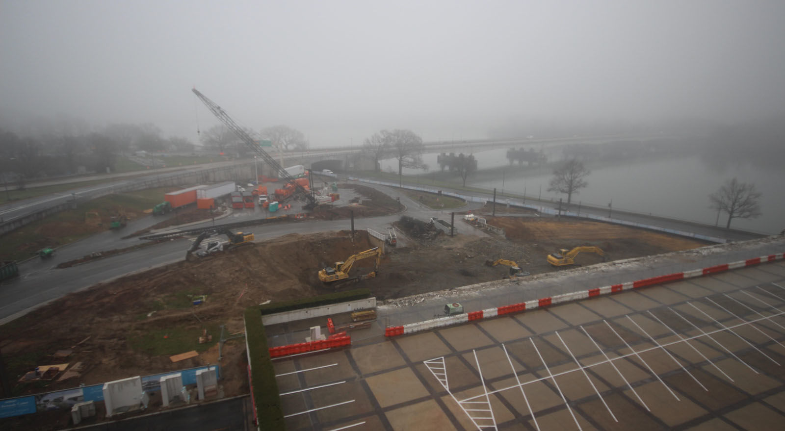 A view of construction underway on the Kennedy Center expansion project from Jan. 9, 2016. (Courtesy the Kennedy Center)
