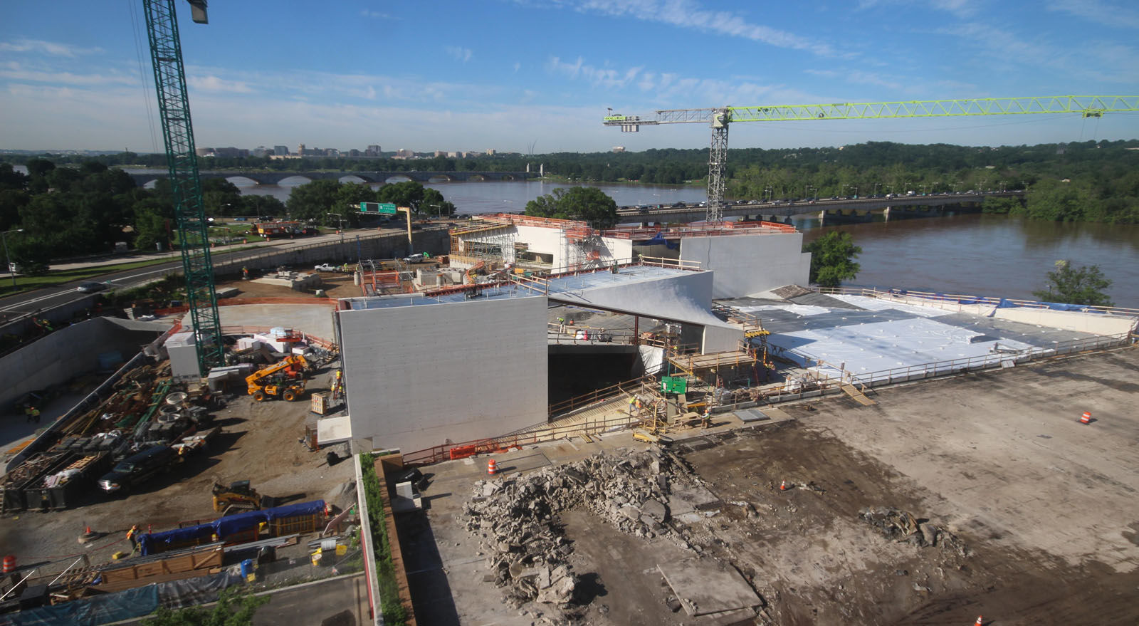 A look at the progress made on the construction of the Kennedy Center's expansion project on June 5, 2018. (Courtesy the Kennedy Center)
