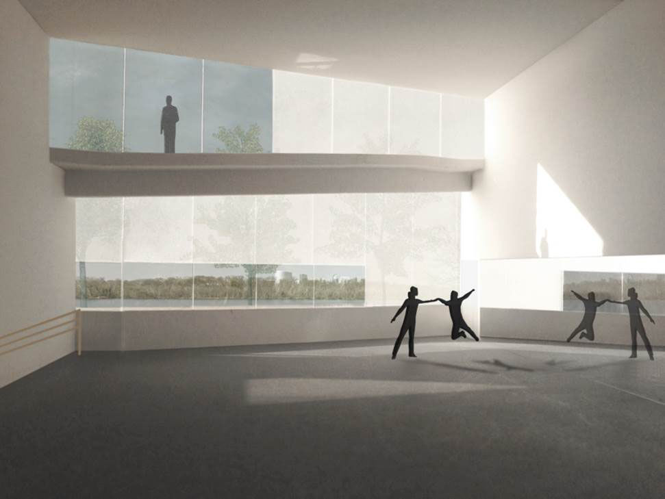 The Kennedy Center said transparent glass walls will connect pavilion visitors directly with the environment, and invite passersby to participate in the artistic process. (Courtesy Steven Holl Architects via the Kennedy Center)