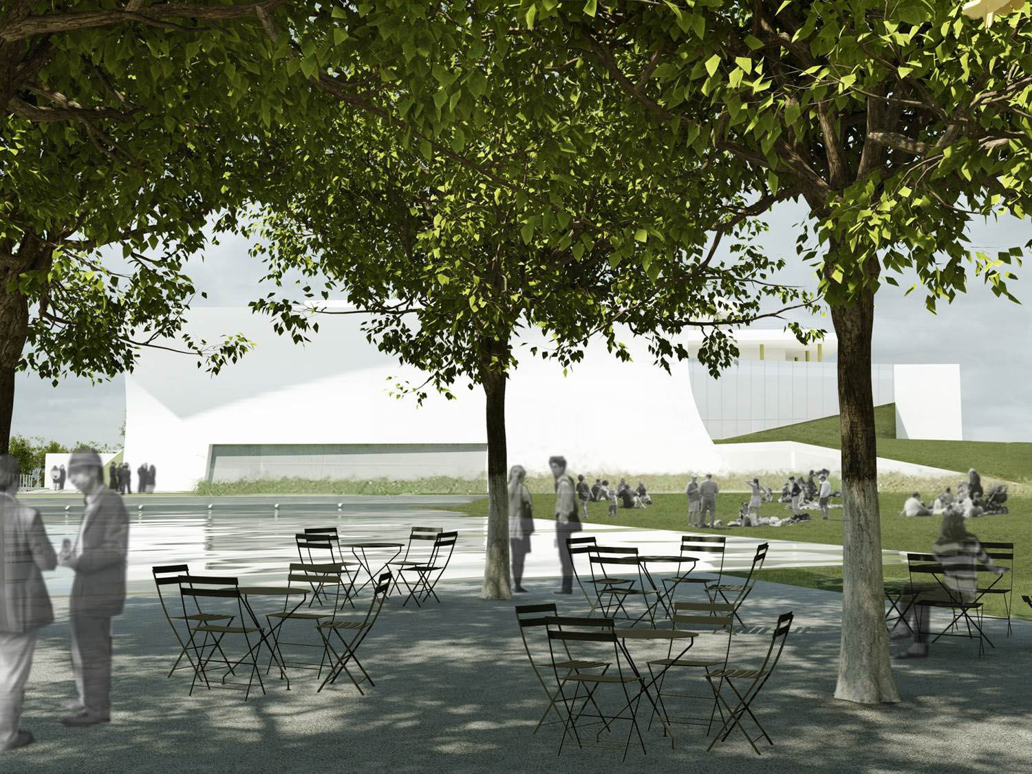 The Kennedy Center said the landscape is designed to welcomes the community to enjoy sculpture and interactive art, meticulously planned gardens, casual seating areas, and reflecting ponds. (Courtesy Steven Holl Architects via the Kennedy Center)