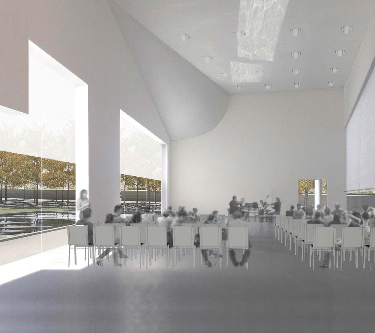 A view inside the planned River Pavilion, which the Kennedy Center can be used as a cafe setting or a performance space. (Courtesy Steven Holl Architects via the Kennedy Center)