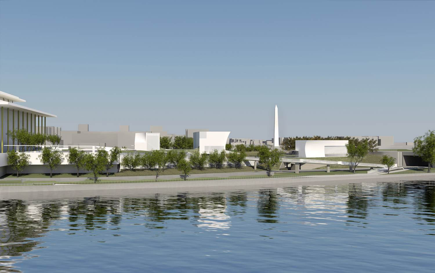 Here's a view of the planned scenic walkway connecting the Kennedy Center with the Potomac River and nearby memorials. (Courtesy Steven Holl Architects via the Kennedy Center)