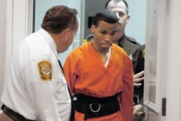 FILE - In this Oct. 26, 2004 file photo, Lee Boyd Malvo enters a courtroom in Spotsylvania, Va. (Mike Morones/The Free Lance-Star via AP)