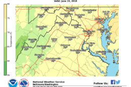 Tuesday is shaping up to be another hot and muggy day, some parts of the D.C. area will see lows that are still in the high 70s. Showers and thunderstorms, some of which could be severe with heavy rainfall, are also expected on Tuesday afternoon. (Courtesy National Weather Service)