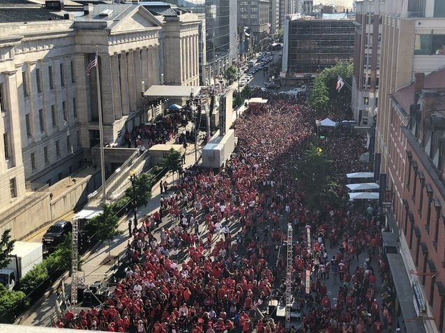 A bird's eye view of the crowd outside Smithsonian's National Portrait Gallery and Capital One Arena leading up to Game 4 of the Stanley Cup Final. (Courtesy DC Police Department)