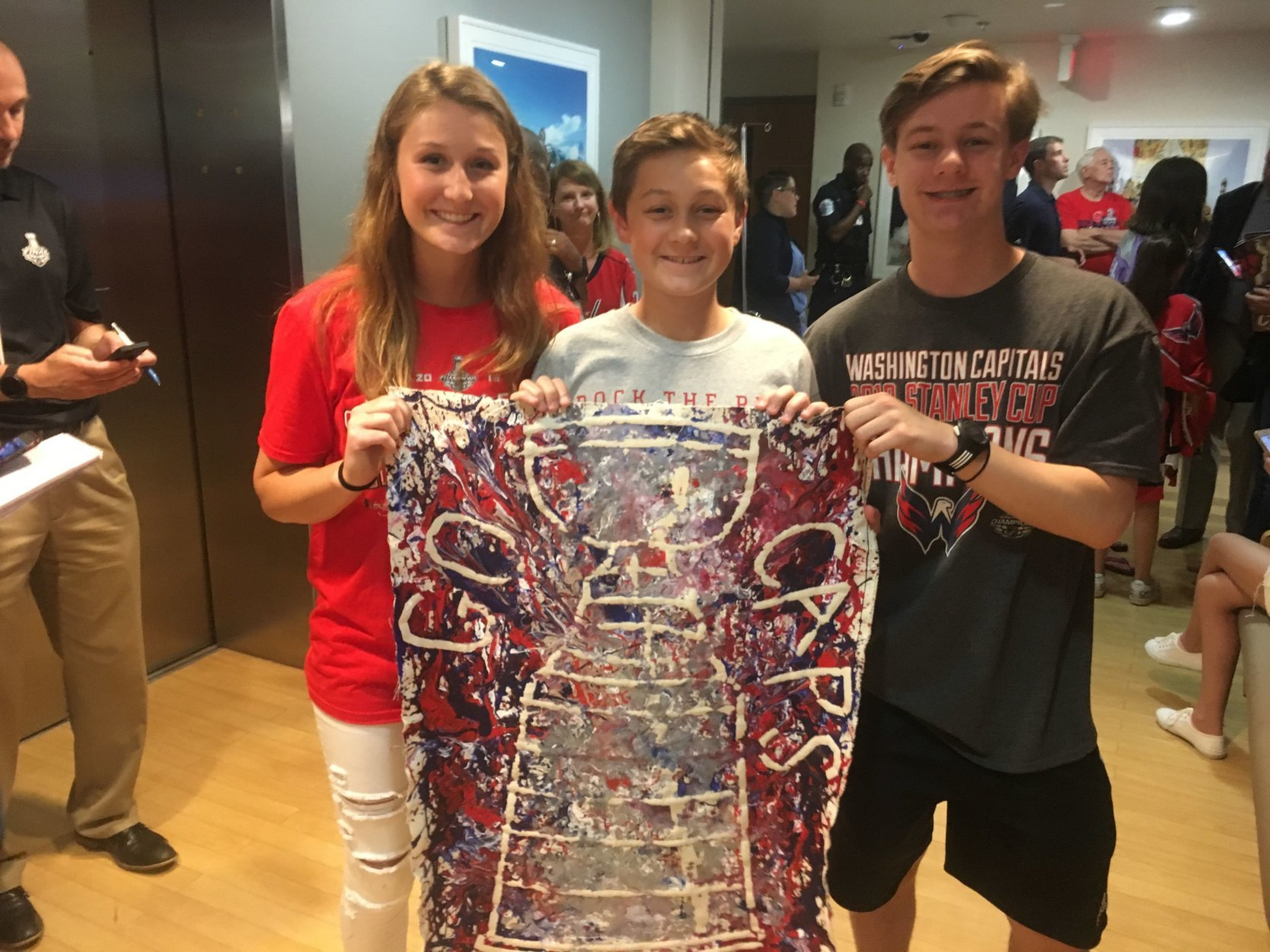 Michael from Wisconsin suffers from LCH, a rare disease in which the body makes too many Langerhans cells, which is a form of white blood cell. HE made this syringe art painting before the Capital won the cup and feels it may have been good luck for the team.
