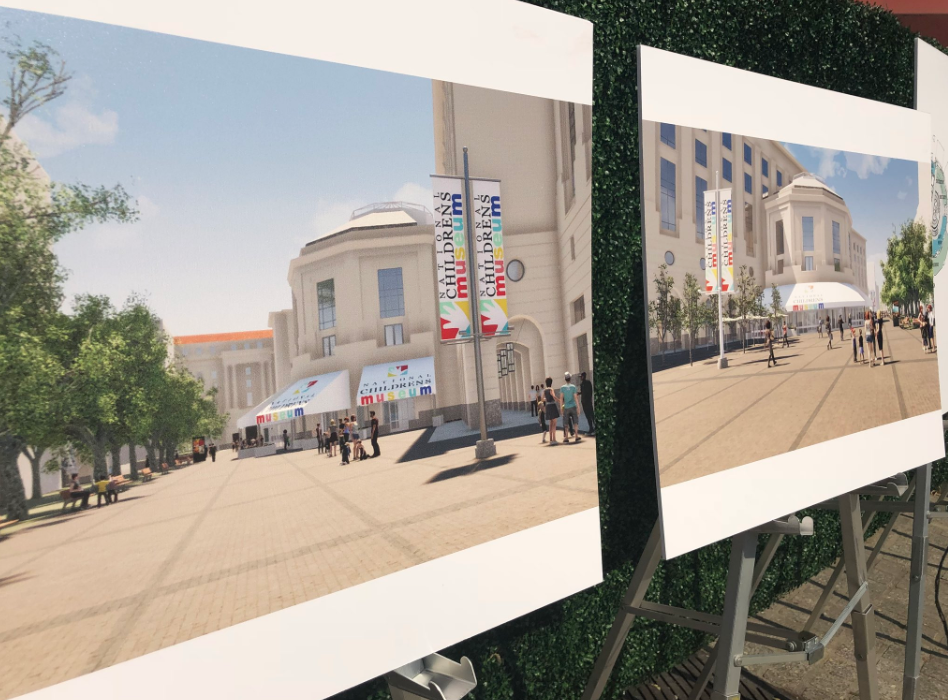 Architectural plans were revealed for the new National Children's Museum space at Woodrow Wilson Plaza. (WTOP/Melissa Howell)
