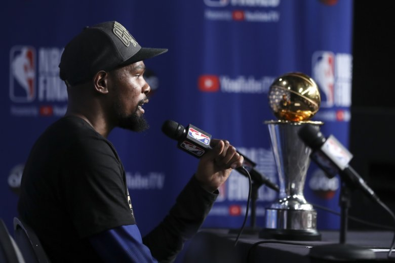 5b415483c8e7 Golden State Warriors forward Kevin Durant speaks during a news conference  following Game 4 of basketball s NBA Finals early Saturday.