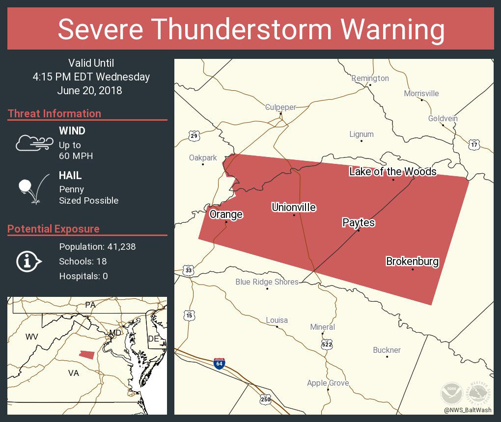 In Central Virginia, the National Weather Service has issued a severe thunderstorm warning for portions of Orange County until 4:15 p.m. (Courtesy National Weather Service)