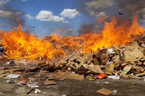 Fire crews battle blaze at Montgomery Co. recycling plant